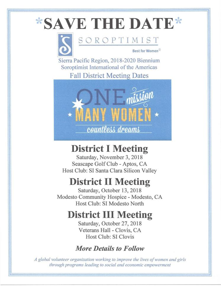 Save the Date- Fall Dt Meetings 2018